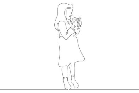 A child with a large mug with a glass in his hands. Little girl in a dress.One continuous drawing line logo single hand drawn art doodle isolated minimal illustration.