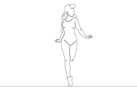 Young girl woman in fitness sportswear.One continuous drawing line logo single hand drawn art doodle isolated minimal illustration.