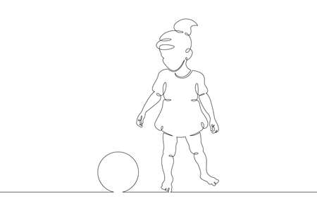 Little child plays with a ball. Childrens games. One continuous drawing line logo single hand drawn art doodle isolated minimal illustration.