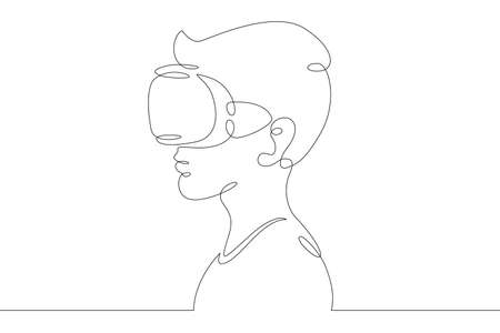 Little teenager child playing virtual reality. Character in a helmet with glasses of virtual reality. One continuous drawing line  single hand drawn art doodle isolated minimal illustration. Illustration