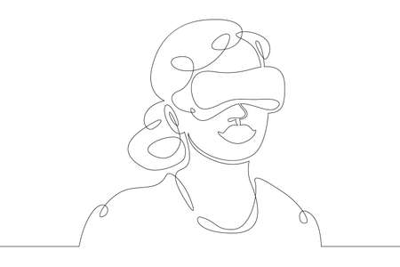 Little teenager child playing virtual reality. Character in a helmet with glasses of virtual reality. One continuous drawing line logo single hand drawn art doodle isolated minimal illustration. 向量圖像