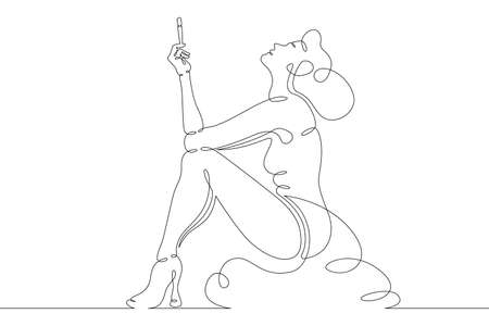 Young woman smokes a cigarette in the mouthpiece. One continuous drawing line logo single hand drawn art doodle isolated minimal illustration.