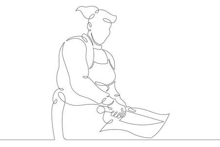 Woman chef prepares food in the restaurant kitchen. Chef cook in uniform.One continuous drawing line logo single hand drawn art doodle isolated minimal illustration. 向量圖像
