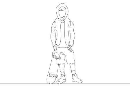 Teenager child stands with a skateboard. Extreme sport. One continuous drawing line logo single hand drawn art doodle isolated minimal illustration.