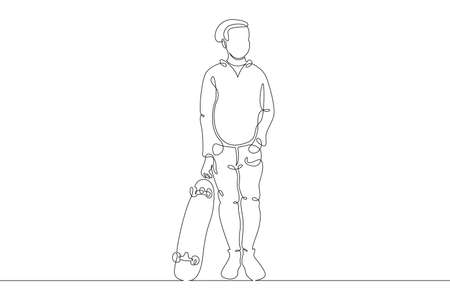 Teenager child stands with a skateboard. Extreme sport. One continuous drawing line  single hand drawn art doodle isolated minimal illustration.