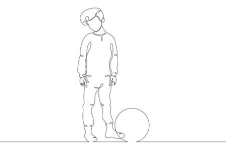 Little child plays with a ball. Childrens games. One continuous drawing line  single hand drawn art doodle isolated minimal illustration.
