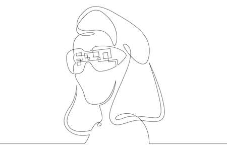 Female character wearing augmented reality glasses. Gaming industry and geolocation. Mobile technology.One continuous drawing line  single hand drawn art doodle isolated minimal illustration. Illustration