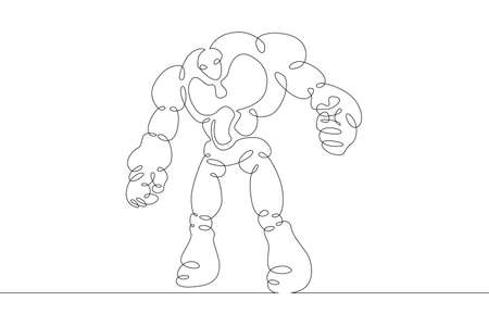 Robot android in full growth. Robotics, artificial intelligence. One continuous drawing line  single hand drawn art doodle isolated minimal illustration. Illustration