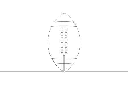 American football ball. Game sports equipment. One continuous drawing line  single hand drawn art doodle isolated minimal illustration. Illustration
