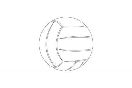 Ball for playing volleyball. Game sports equipment.One continuous drawing line  single hand drawn art doodle isolated minimal illustration.