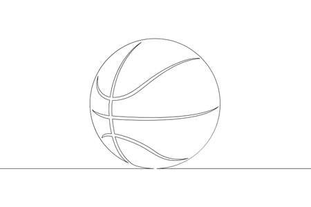 Basketball ball. Game sports equipment. One continuous drawing line  single hand drawn art doodle isolated minimal illustration. Illustration