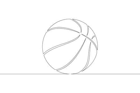 Basketball ball. Game sports equipment. One continuous drawing line   single hand drawn art doodle isolated minimal illustration.