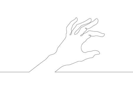 Wrist. Palm gesture. Different position of the fingers. Sign and symbol of gestures. One continuous drawing line  single hand drawn art doodle isolated minimal illustration.