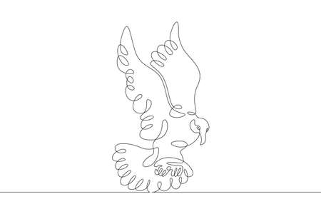 A bird flying in the air during the flight. Spread bird wings. One continuous drawing line single hand drawn art doodle isolated minimal illustration. Illustration