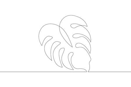 Deciduous tree leaf. Leaves. One continuous drawing line single hand drawn art doodle isolated minimal illustration. Illustration