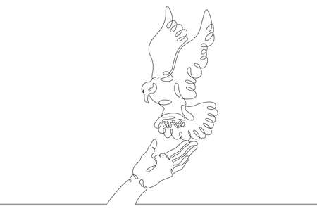 The bird sits on the human hand. Bird flying in the air. Open palm. One continuous drawing line logo single hand drawn art doodle isolated minimal illustration.