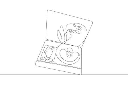 Opened international passport with a photo of a citizen.One continuous drawing line logo single hand drawn art doodle isolated minimal illustration Logó