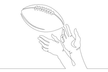 American football. Hands reach for the football and rugby ball in the game. Throwing and catching the ball. One continuous drawing line logo single hand drawn art doodle isolated minimal illustration