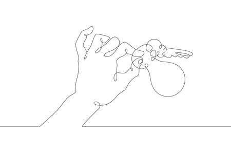 Hand brush palm holds a metal key from the lock with his fingers. One continuous drawing line logo single hand drawn art doodle isolated minimal illustration.