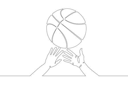 Basketball game. Hands reach out to grab the basketball in the game. Basketball ball. One continuous drawing line logo single hand drawn art doodle isolated minimal illustration