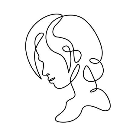 Woman portrait profile silhouette. Womans face. One continuous drawing line single hand drawn art doodle isolated minimal illustration. Ilustrace