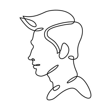 Man portrait profile silhouette. Male face. One continuous drawing line single hand drawn art doodle isolated minimal illustration.