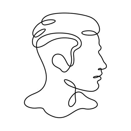 Man portrait profile silhouette. Male face logo. One continuous drawing line logo single hand drawn art doodle isolated minimal illustration.