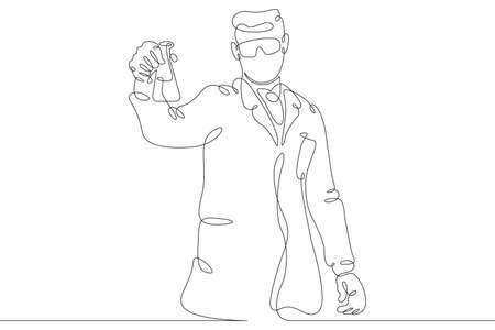 Scientist laboratory assistant student works in a laboratory with test tubes and instruments. Education and Science. One continuous drawing line logo single hand drawn art doodle isolated minimal illustration.