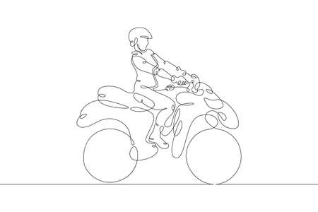 Offroad racing sport ATV with rider. One continuous drawing line logo single hand drawn art doodle isolated minimal illustration.