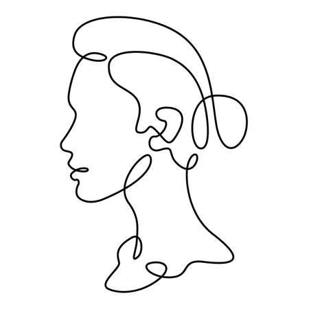 Woman portrait profile silhouette. Womans face logo. One continuous drawing line logo single hand drawn art doodle isolated minimal illustration. Reklamní fotografie