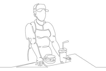 Seller cashier of a restaurant in a street fast food cafe at work. Drinks and meals. Carbonated drinks and sandwiches.One continuous drawing line logo single hand drawn art doodle isolated minimal illustration.