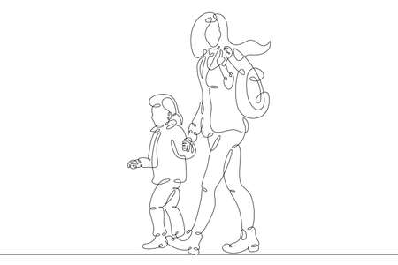 Mother with her daughter for a walk. Family shopping trip. Motherhood. One continuous drawing line logo single hand drawn art doodle isolated minimal illustration. Reklamní fotografie