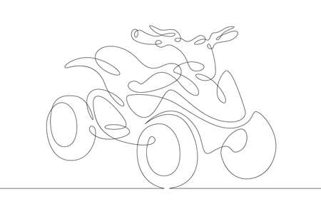 Offroad racing sport ATV without racer. One continuous drawing line logo single hand drawn art doodle isolated minimal illustration. Reklamní fotografie