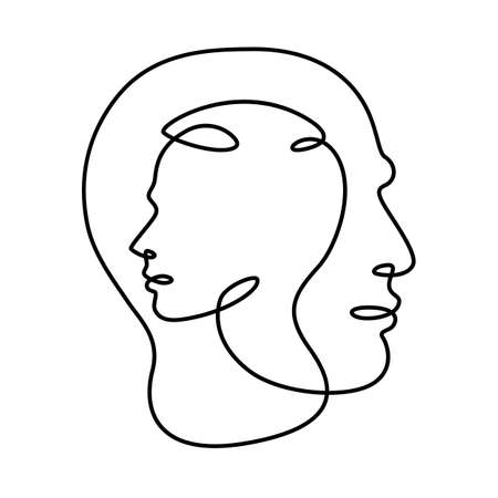 Male and female profile portrait. The face is within the face.Head in head. Logo portrait of a married couple. One continuous drawing line logo single hand drawn art doodle isolated minimal illustration. Reklamní fotografie