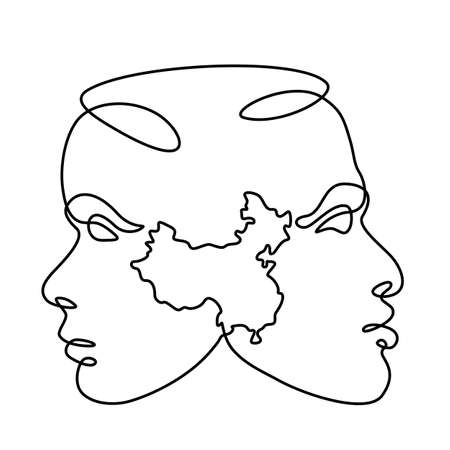 Female and male portrait. Face profile symbol of local nationality. China silhouette map. One continuous drawing line logo single hand drawn art doodle isolated minimal illustration.