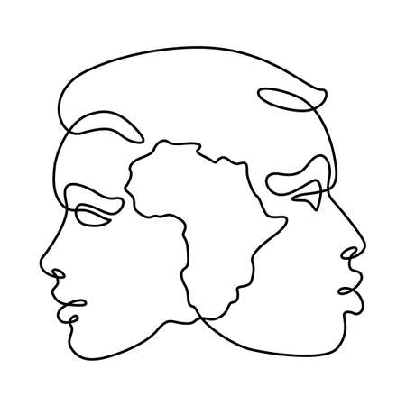 Female and male portrait. Face profile symbol of local nationality. Africa silhouette map. One continuous drawing line logo single hand drawn art doodle isolated minimal illustration. Reklamní fotografie