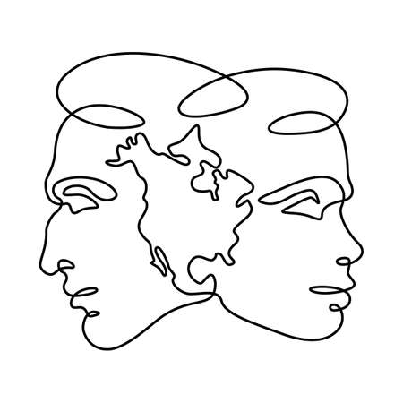 Female and male portrait. Face profile symbol of local nationality. America silhouette map.One continuous drawing line logo single hand drawn art doodle isolated minimal illustration.