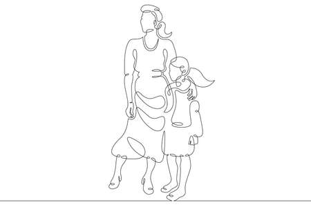 Mother with her daughter for a walk. Family shopping trip. Motherhood. One continuous drawing line logo single hand drawn art doodle isolated minimal illustration. Ilustrace