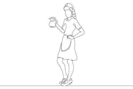 Fast food diner waitress with a decanter of hot coffee. Drinks and meals. Carbonated drinks and sandwiches.One continuous drawing line single hand drawn art doodle isolated minimal illustration.