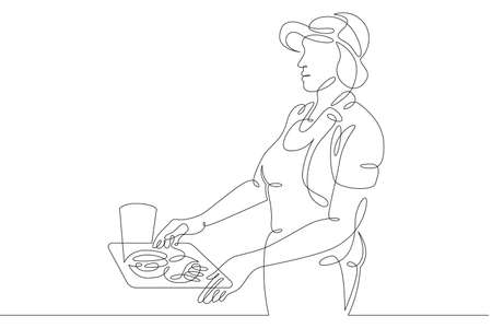 Seller cashier of a restaurant in a street fast food cafe at work. Drinks and meals. Carbonated drinks and sandwiches.One continuous drawing line   single hand drawn art doodle isolated minimal illustration.
