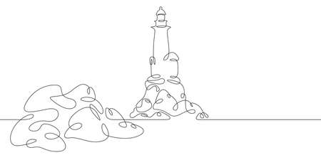 Lighthouse on the rocky shore of the sea bay. One continuous drawing line logo single hand drawn art doodle isolated minimal illustration. Ilustrace