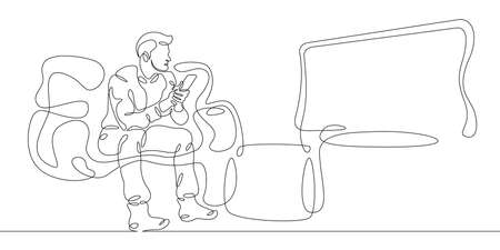 Young man watching television at home on the couch. One continuous drawing line logo single hand drawn art doodle isolated minimal illustration. 向量圖像