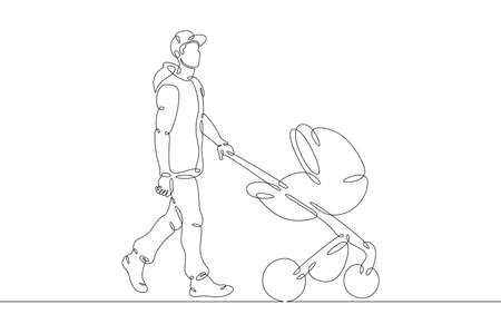 Young father on a walk with a baby in a stroller. Baby carriage. Fatherhood and upbringing. One continuous drawing line logo single hand drawn art doodle isolated minimal illustration.