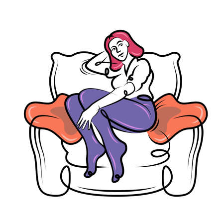 Young woman sitting resting in a large armchair. Girl with pink hair. Continuous line hand drawn contour flat design portrait minimal vector illustration. 向量圖像