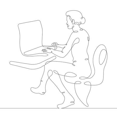 Female character at the work table in the office. Workplace laptop designer programmer manager. One continuous drawing line logo single hand drawn art doodle isolated minimal illustration.