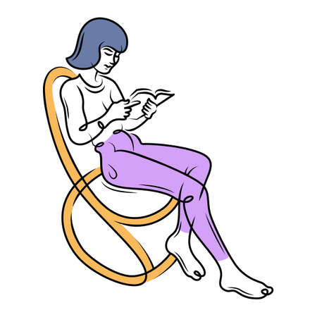 A girl in a rocking chair reads a book. Woman with short hair in leggings. Continuous line hand drawn contour flat design portrait minimal vector illustration.
