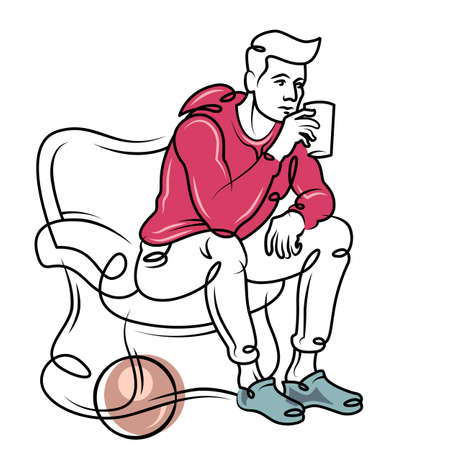 A young man is drinking a hot drink. Male sitting in a chair. Continuous line hand drawn contour flat design portrait minimal vector illustration.