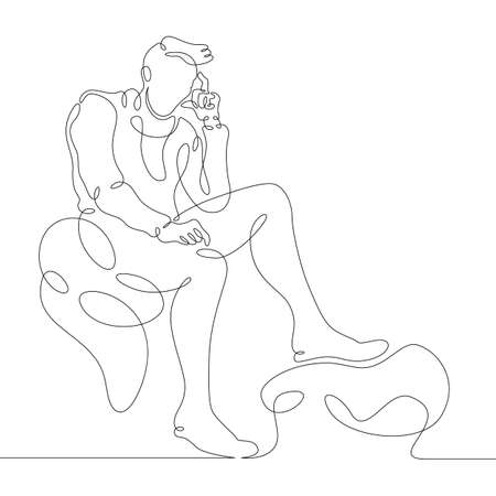 Male sitting in a chair and ponders. Thinker leader. Creative ideas in the workplace. Thinker leader. Creative ideas in the workplace.One continuous drawing line logo single hand drawn art doodle isolated minimal illustration. 版權商用圖片