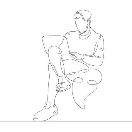 Male character at the work table in the office. Workplace laptop designer programmer manager. One continuous drawing line logo single hand drawn art doodle isolated minimal illustration.