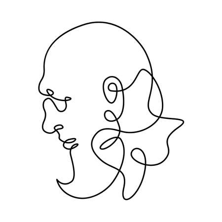 Head portrait of an elderly bearded man. Profile of a bald old man. One continuous drawing line logo single hand drawn art doodle isolated minimal illustration.